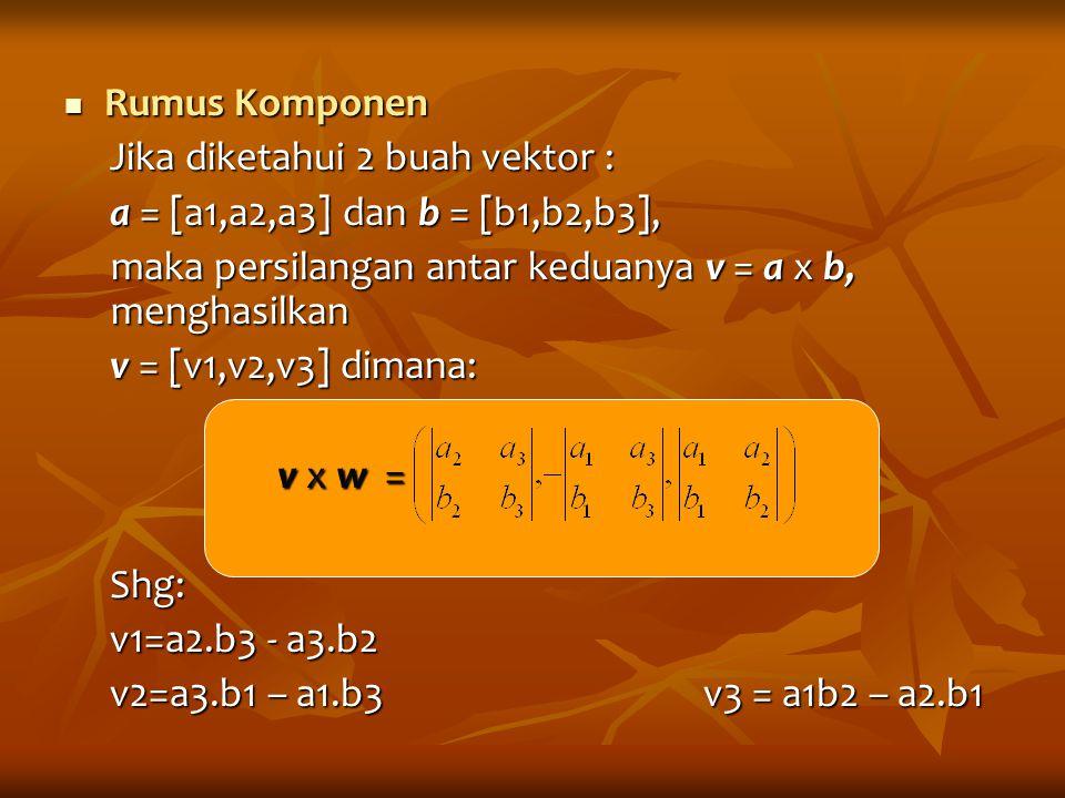 Rumus Komponen Jika diketahui 2 buah vektor : a = [a1,a2,a3] dan b = [b1,b2,b3], maka persilangan antar keduanya v = a x b, menghasilkan.